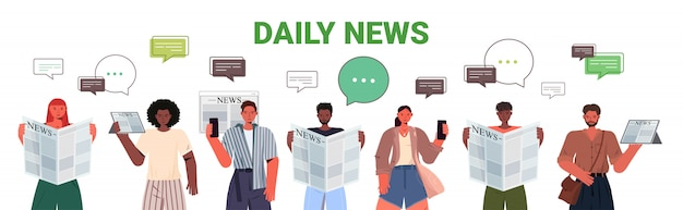 Mescolare gente di razza leggendo giornali e discutendo notizie quotidiane bolla di chat comunicazione stampa concetto di mass media ritratto illustrazione orizzontale