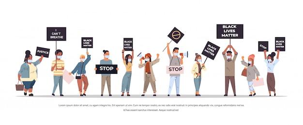 Mescolare manifestanti di razza con vite nere materia banner che protestano contro la discriminazione razziale problemi sociali del razzismo illustrazione vettoriale orizzontale a figura intera copia spazio