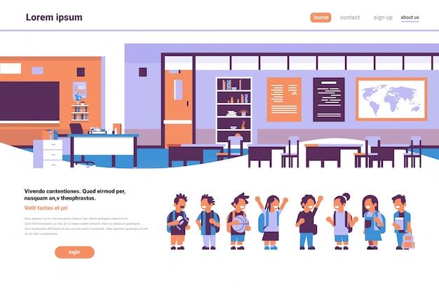 Mescoli la corsa della classe dei bambini della scuola della scuola nello spazio orizzontale della copia di progettazione piana degli allievi di istruzione di concetto di studio di successo