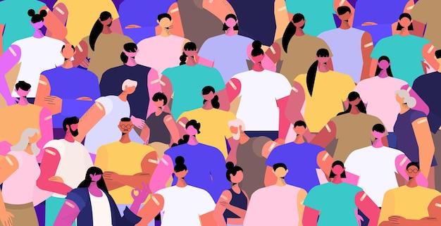 Mescolare il gruppo di pazienti vaccinati di razza dopo l'iniezione del vaccino con successo covid-19 concetto di vaccinazione ritratto orizzontale illustrazione vettoriale