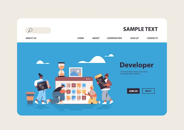 Mescolare sviluppatori web di gare che testano nuove funzionalità di app che codificano insieme sviluppo di applicazioni software di programmazione concetto di spazio di copia
