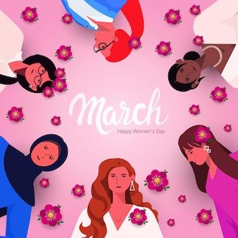 Mescoli le donne della corsa che celebrano l'illustrazione del ritratto di concetto di celebrazione di festa dell'8 marzo del giorno delle donne