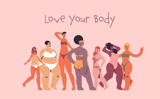 Mescolare donne di razza di diversa altezza, tipo di figura e taglia, che stanno insieme, amano il tuo concetto di corpo, ragazze in costume da bagno, illustrazione vettoriale orizzontale a figura intera