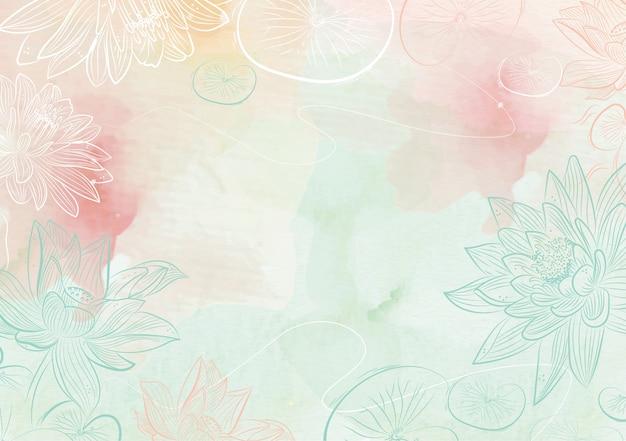 Sfondo di spruzzi di colori misti con disegnato a mano di loto