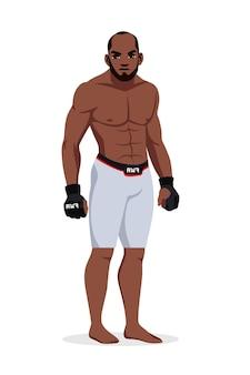 Lottatore di arti marziali miste uomo che indossa abiti sportivi in piedi isolato.