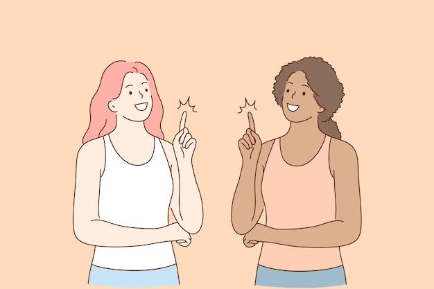 Amicizia di razza mista, concetto di idea di dito alto.