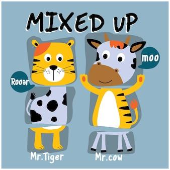 Cartone animato divertente confuso con animali