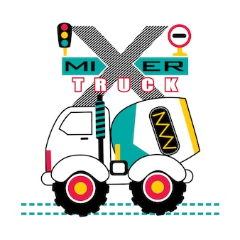 Cartone animato di progettazione camion mixer