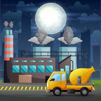 Un camion betoniera davanti all'illustrazione del cantiere