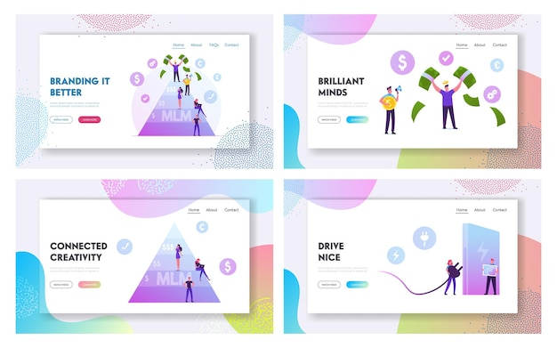 Mlm business, set di pagine di destinazione del sito web di trasporto ecologico. Vettore Premium