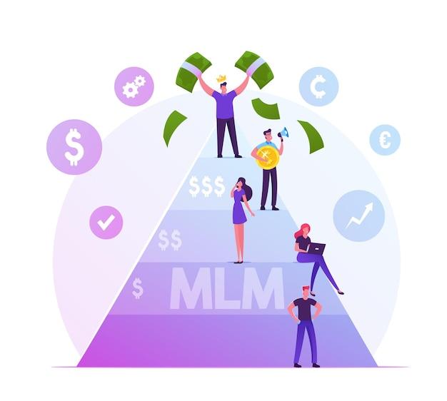 Mlm. concetto di affari di marketing multilivello con persone stanno su diversi livelli di piramide finanziaria, uomo felice in cima tenendo le fatture di denaro. cartoon illustrazione piatta