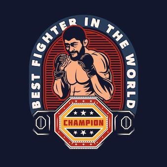 Emblema di arti marziali miste mma fight club