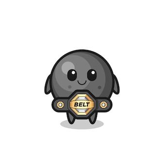 La mascotte della palla di cannone da combattimento mma con una cintura, un design in stile carino per maglietta, adesivo, elemento logo