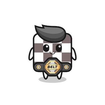 La mascotte della scacchiera da combattimento mma con una cintura, un design in stile carino per maglietta, adesivo, elemento logo