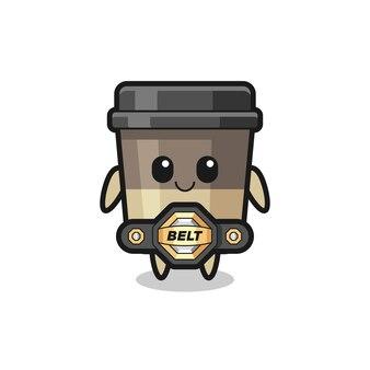 La mascotte della tazza di caffè da combattimento mma con una cintura, un design in stile carino per maglietta, adesivo, elemento logo