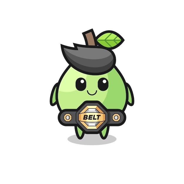 La mascotte guava combattente mma con cintura, design in stile carino per maglietta, adesivo, elemento logo