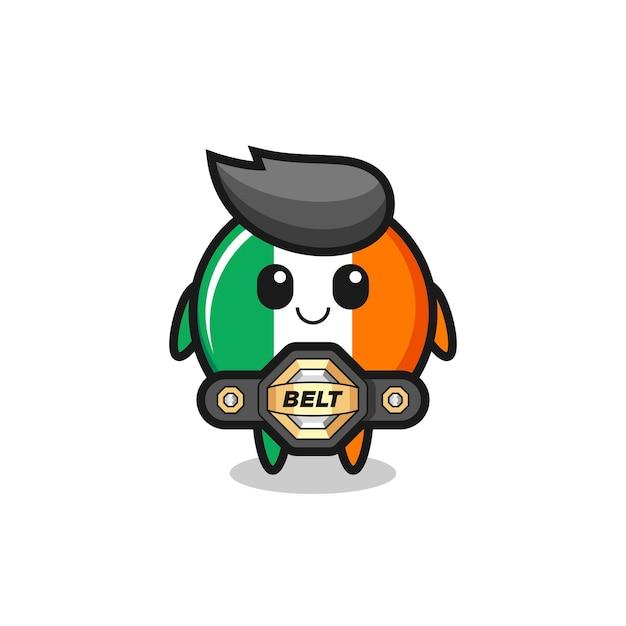 La mascotte del distintivo della bandiera dell'irlanda del combattente mma con una cintura, un design in stile carino per maglietta, adesivo, elemento logo