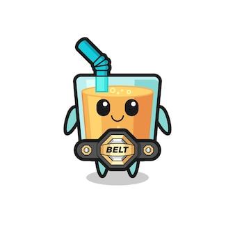 La mascotte del succo d'arancia combattente mma con una cintura, un design in stile carino per maglietta, adesivo, elemento logo