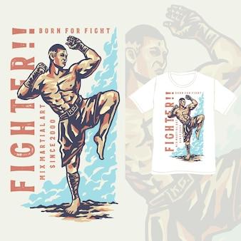 Posa del combattente mma con un'illustrazione in stile vintage