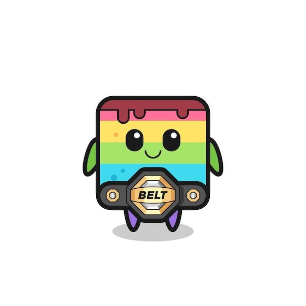 La mascotte della torta arcobaleno combattente mma con una cintura, un design in stile carino per maglietta, adesivo, elemento logo