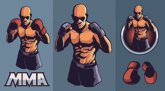 Combattente mma con guanti da boxe opzionali