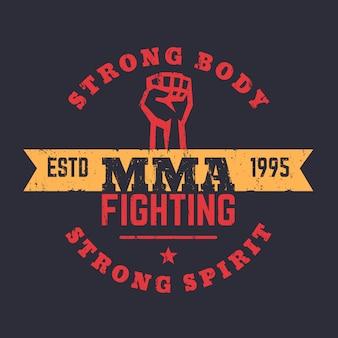 Mma fighting logo, emblema, design t-shirt mma, stampa vintage, illustrazione