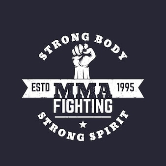 Logo mma fighting, emblema vettoriale, stampa t-shirt