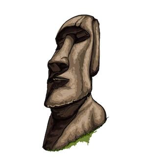 Statua moai statua dell'isola di pasqua da una spruzzata di disegno colorato ad acquerello realistico