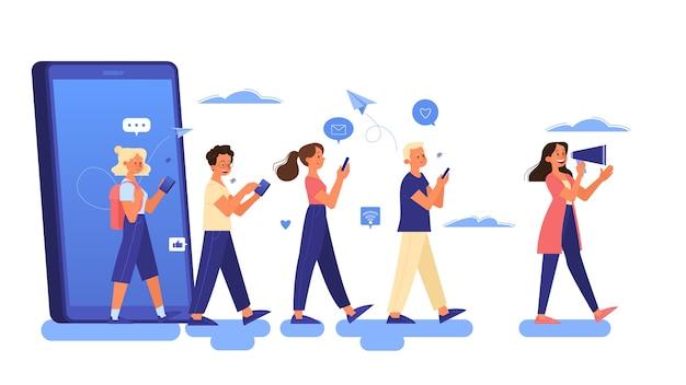 Concetto di pubblicità mobile. strategia di marketing e promozione aziendale su internet e sui social media. contenuto in linea. illustrazione