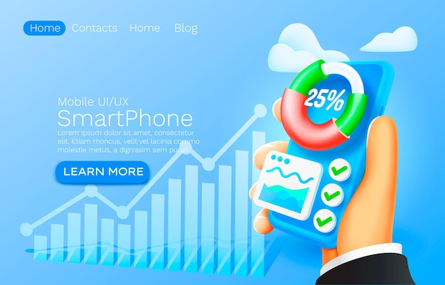Progettazione della pagina di destinazione del sito web del diagramma finanziario del grafico dell'app di analisi mobile