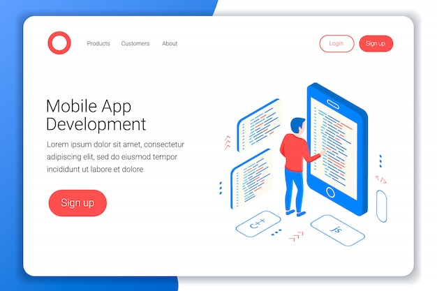 Concetto di sviluppo di app per dispositivi mobili. il programmatore scrive il codice sullo smartphone. piatto 3d isometrico. modello di pagina di destinazione. illustrazione.