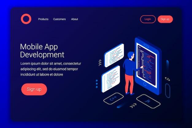 Concetto di sviluppo di app per dispositivi mobili. il programmatore scrive il codice sullo smartphone. piatto 3d isometrico. modello di pagina di destinazione. illustrazione. Vettore Premium