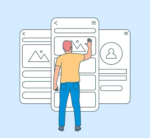 Concetto di sviluppo di app per dispositivi mobili. test di usabilità dello schermo mobile con persone uomo. pagina dell'interfaccia utente e interfaccia utente dell'applicazione software di sviluppo. piatto