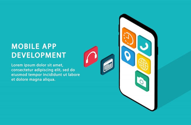 Sviluppo di app per dispositivi mobili. interfaccia utente di sviluppo. isometrico. pagine web moderne per siti web.