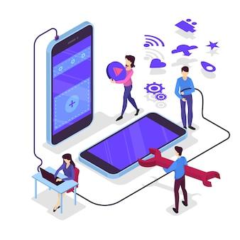 Illustrazione di sviluppo di app per dispositivi mobili