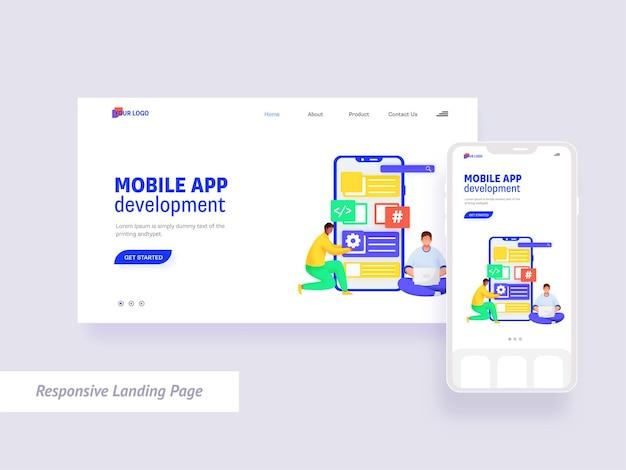 Design della pagina di destinazione per lo sviluppo di app per dispositivi mobili in colore bianco.
