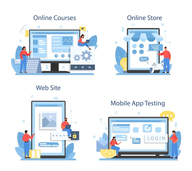 Servizio online di sviluppo di app mobili o set di piattaforme.