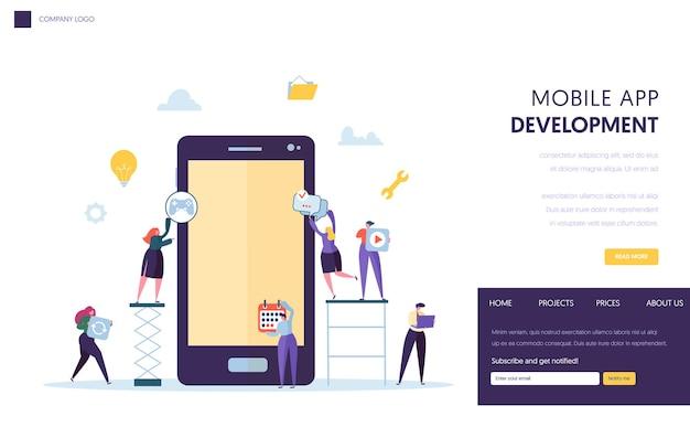Pagina di destinazione del team di sviluppo di app per dispositivi mobili.