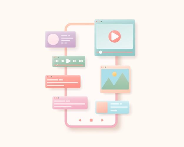 Sviluppo di app per dispositivi mobili e concetto di web design illustrazione dell'interfaccia dell'applicazione