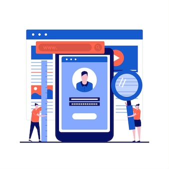 Sviluppo di app mobili con applicazione per la creazione di programmatori e scrittura di codice su smartphone in design piatto