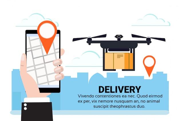 App mobile drone volante deo tag consegna pacco aria spedizione