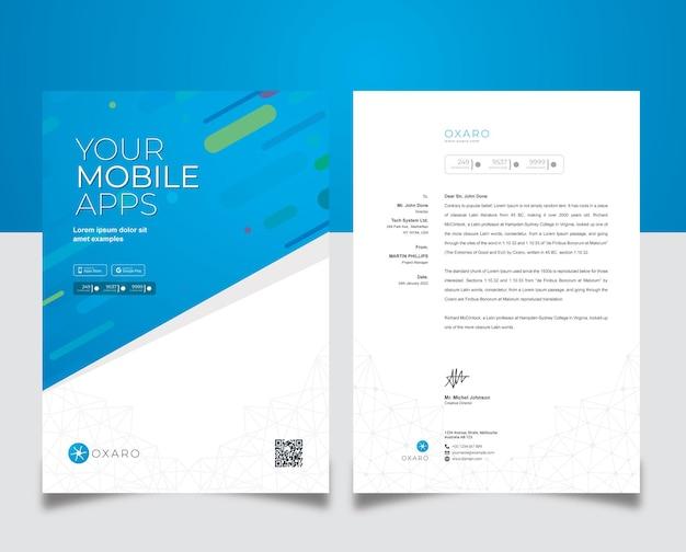 Modello di carta intestata per app per dispositivi mobili