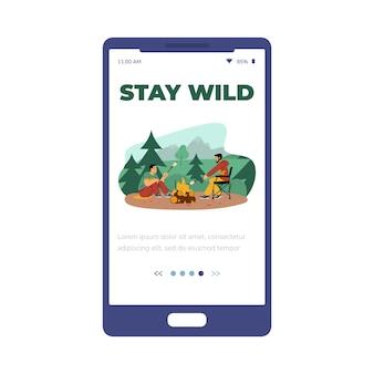 Pagina di onboarding dell'app mobile per l'illustrazione vettoriale piatta del campeggio isolata