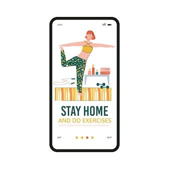 Modello di pagina di onboarding dell'app mobile per l'attività sportiva domestica e l'allenamento al chiuso, illustrazione vettoriale isolato su sfondo bianco. resta a casa e sii sano concetto.