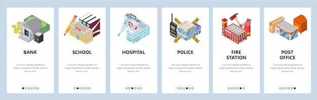 Schermi di onboarding per app mobili. edifici cittadini, banca, polizia, ospedale, scuola, caserma dei pompieri.