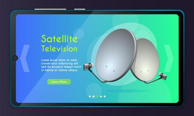 Pagina dell'app mobile, set di schermate. concetto di televisione satellitare per sito web o pagina web.