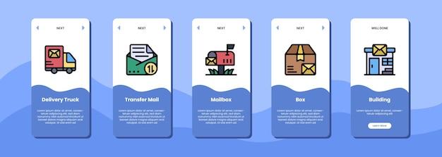 Casella e edificio della cassetta postale di trasferimento della posta del camion di consegna dello schermo dell'app mobile