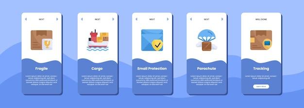 Icona di monitoraggio del paracadute della posta di protezione del carico fragile dello schermo dell'app mobile