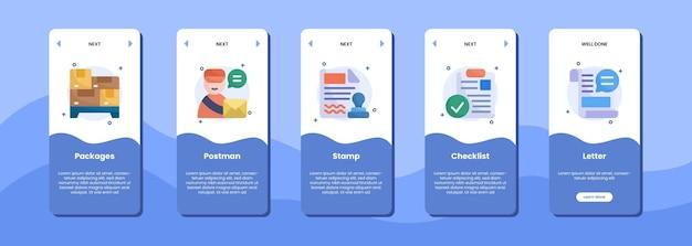 Pacchetti schermo app mobile elenco di controllo e lettera del timbro del postino