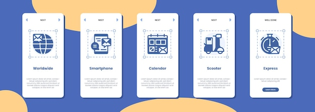 Schermata dell'app mobile in tutto il mondo smartphone calendario scooter icona express
